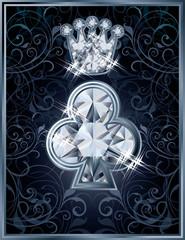 Diamond Poker clubs royal card, vector illustration