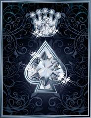 Diamond Poker spade royal card, vector illustration