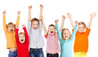 Happiness group children with their hands up - 77310747