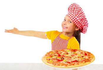Little girl preparing homemade pizza
