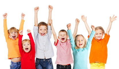 Happiness group children with their hands up