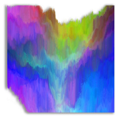 Mountain valley with wild river. Abstract painting