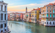 Sunset in Venice, Italy - view on colorful houses on Grand Canal