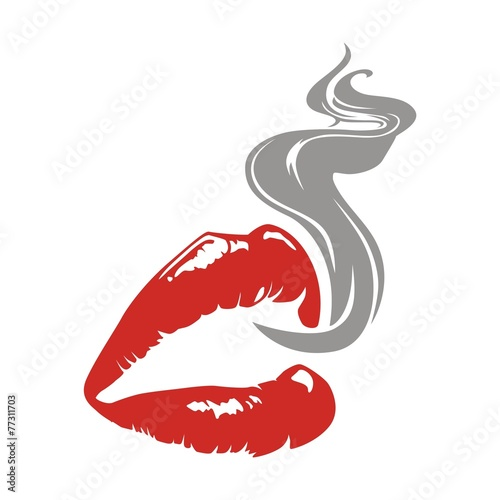 Deurstickers Rook lips and smoke