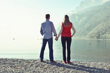 Couple at a mountain lake