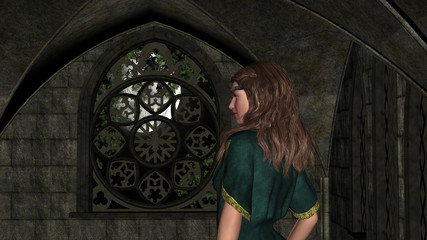 Night Magic Fantasy Girl in the Castle