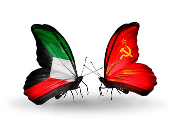 Two butterflies with flags Kuwait and Soviet Union