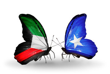 Two butterflies with flags Kuwait and Somalia