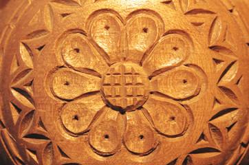 Carved wood flower