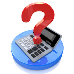 Calculator and question mark