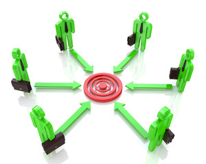 Corporate business executive people aim at concentric circles of