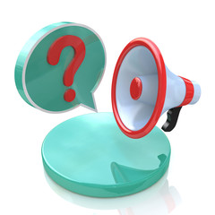 Megaphone with Speech Bubble and Question mark