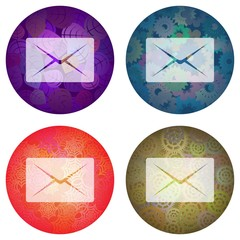 icons of envelopes on a beautiful background patterns. Isolated