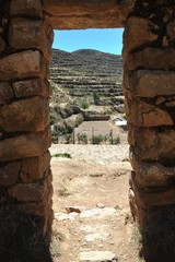 Sun island is located on lake Titicaca