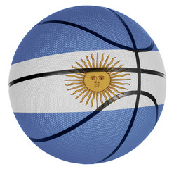 Basketball ball with flag of Argentina