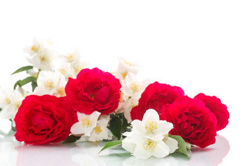 delicate bouquet of roses and jasmine