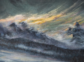 Mountains landscape acrylic painted