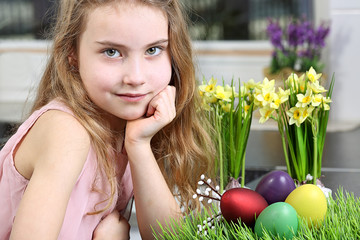 Lovely young girl getting ready for Easter