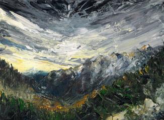 Winter landscape .Acrylic