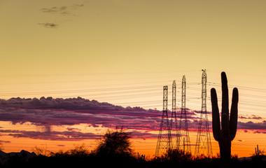 Electricity power line - dramatic sky