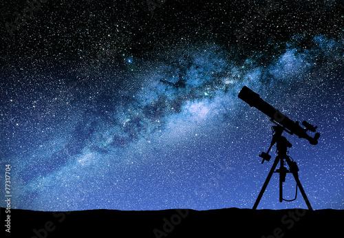 Leinwandbild Motiv Telescope watching the wilky way