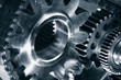 titanium and steel cogwheels, engineering parts