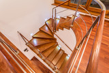 Close-up of winding wooden stairs - 77318584