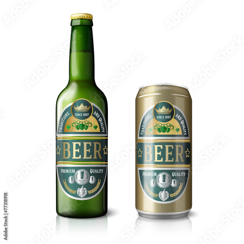 Green beer bottle and golden can, with labels. - 77318918