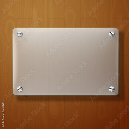 Vector frosted glass plate on wooden background. - 77318985