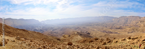 Panorama of Small Crater in Negev desert.