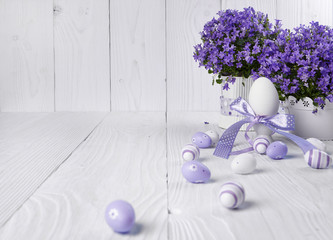 Easter holiday eggs decoration on wooden table