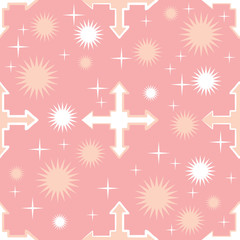 Flying arrow background. Seamless pattern with crosses. Pink