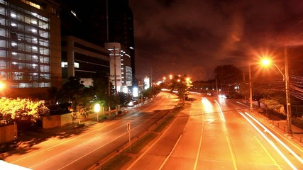 THAILAND 3 august 2014, Speed up Timelapse. Night traffic on the