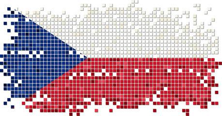 Czech grunge tile flag. Vector illustration