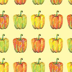 Sweet pepper. Seamless pattern