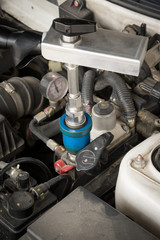 Filling NGV gas to car engine.