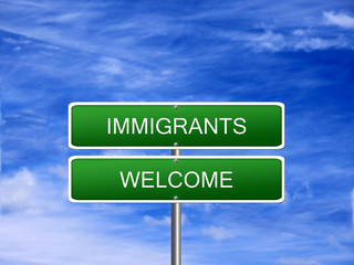 Immigrants Welcome Asylum Sign