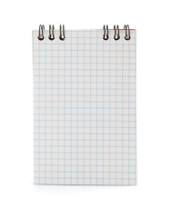 checked notebook on white background