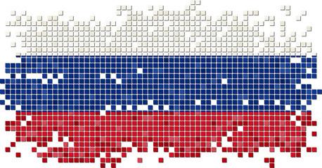 Russian grunge tile flag. Vector illustration