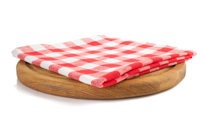 napkin at cutting board on white
