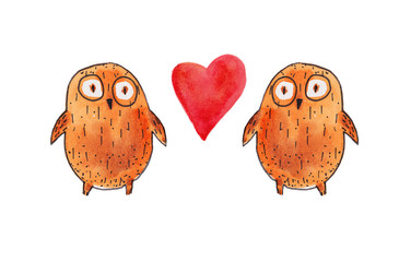 two owl love. Watercolor illustration. Hand drawing