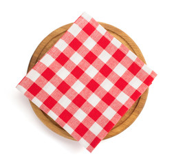 napkin at cutting board on white