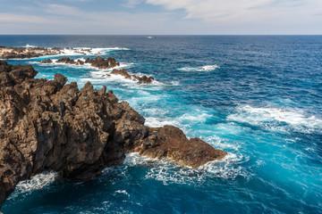 Rocky shore. Porto Moniz,  Madeira island, Portugal