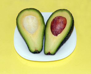Avocado on a yellow background