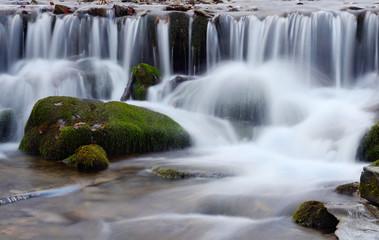 Beautiful  waterfall cascade in Carpathian mountains,Ukraine