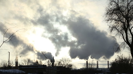 The smoke comes from the chimneys in winter