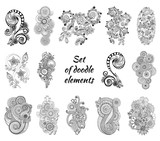Set of Henna Paisley Mehndi Doodles Element. mouse pad