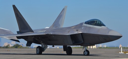 F-22 Raptor Preparing for Takeoff