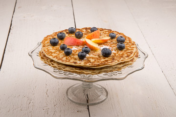 pancake with blueberries and apple