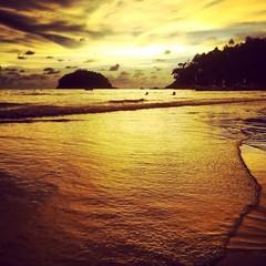 Sunset on island